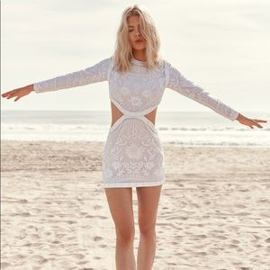 Nasty Gal White Embroidered Felicity Cutout Dress